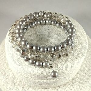 Jewelry - Silver faux pearls and crystal wrap bracelet